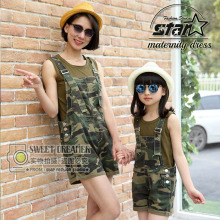 Army Style Mom& Daughter Camouflage Overall Clothes Set 2016 Mother& Kid Girls Short Pants Sets Family Matching Sport Clothing