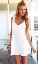 White Vestidos Sleeveless Chiffon V Neck Backless Floral Lace Dress Europe Custome For Women Summer Casual DT01
