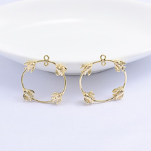 (139)10PCS 2.5CM 24K Gold Color Plated Round with Four Birds Pendants Charm High Quality DIY Jewelry Making Findings Accessories