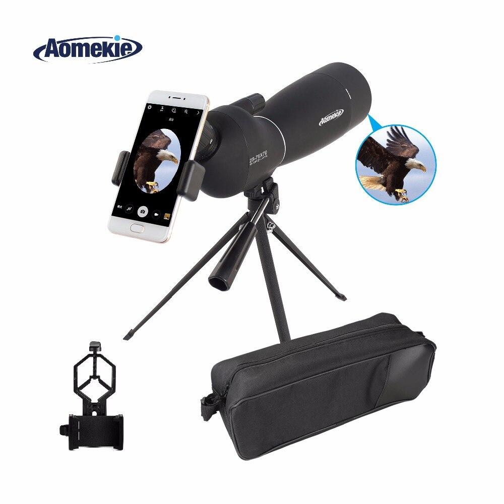 AOMEKIE 25-75X70 Zoom Spotting Scope avec Trépied et Universel Intelligent Support de Téléphone HD Observation Des Oiseaux de Chasse Monoculaire Télescope