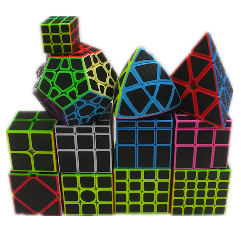 9 kinds Carbon Fiber Sticker Speed Magic Cube 2x2 3x3 4x4 5x5 Cube Puzzle Toy Children Kids Gift Toy Youth Adult Instruction