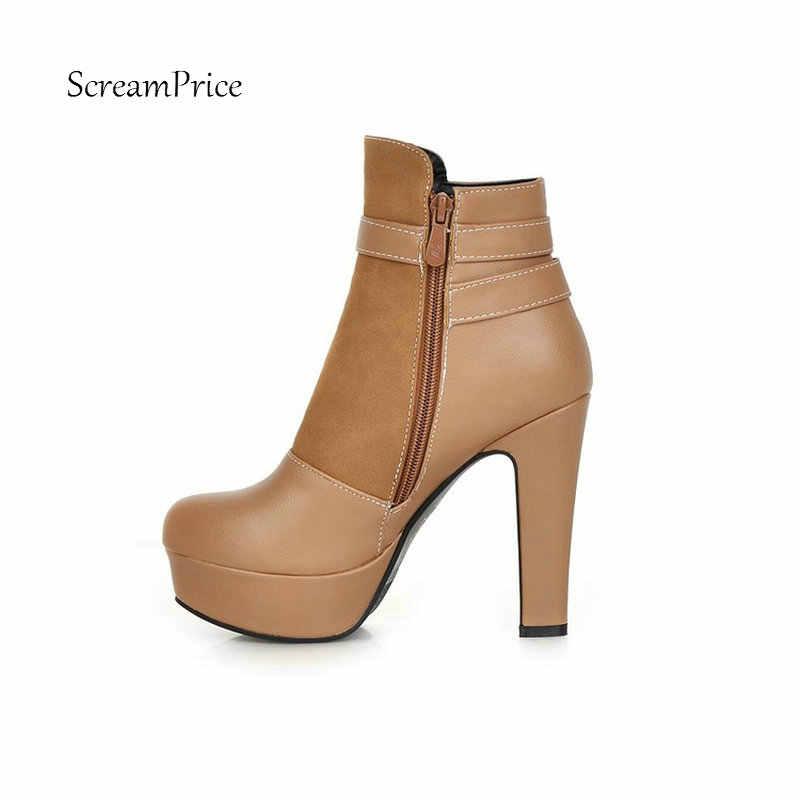 Yarım çizmeler kadınlar için Moda yüksek topuklu platform çizmeler kemer toka büyük boy ayakkabı kadın siyah bej kayısı