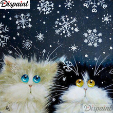 Dispaint Diamond Painting Full Square/Round Animal cat Pattern Embroidery Cross Stitch 5D Rhinestone A18412