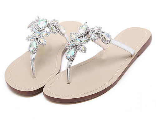 56e7c04d53abe0 Eilyken 2018 Woman Sandals Women Shoes Rhinestones Crystal Chains Thong  Gladiator Flat Sandals Chaussure Plus Size 35-47