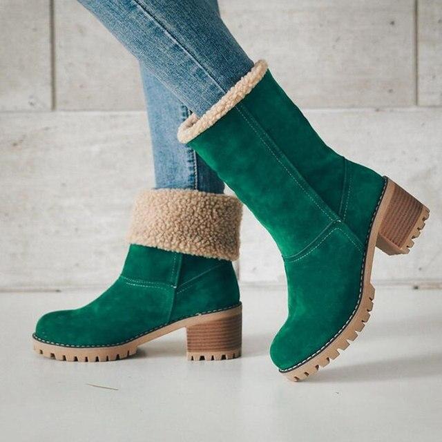 Kadın Botları Kadın Kış Ayakkabı Kadın Kar Cilt Sıcak Botlar Moda Kare Topuk yarım çizmeler Siyah Yeşil Çizmeler Kadın