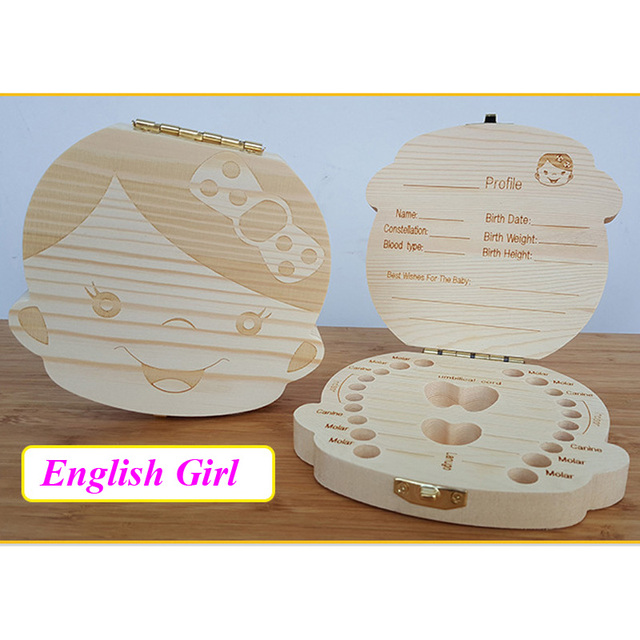 English/Spanish Wooden Box Tooth Box Organizer Save Milk Teeth Box Storage Teeth Gift Umbilical Cord Lanugo caja madera 5