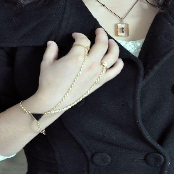 10 шт./лот дамы двойной Finger ручной Жгут золото ведомого Браслеты Треугольники Руки Цепь Рабский Браслеты двумя пальцами рук жгут