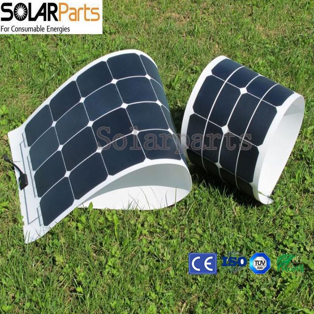 Solarparts 1PCS 100W flexible PV solar panel 12V solar cell module kit RV camper boat car battery charger caravan Sunpower light