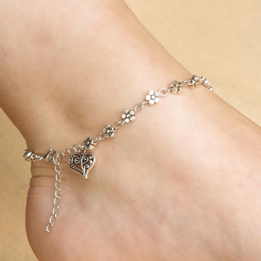imixlot Vintage Tibetan Silver Hollow Plum Flowers Foot Ornaments Peach Heart Shaped Anklet Bracelet Wholesale
