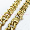 Lenght customized 12/15/17mm wide   Gold plated 316L stainless steel Curb cuban link chain necklaces women&men fashion jewelry