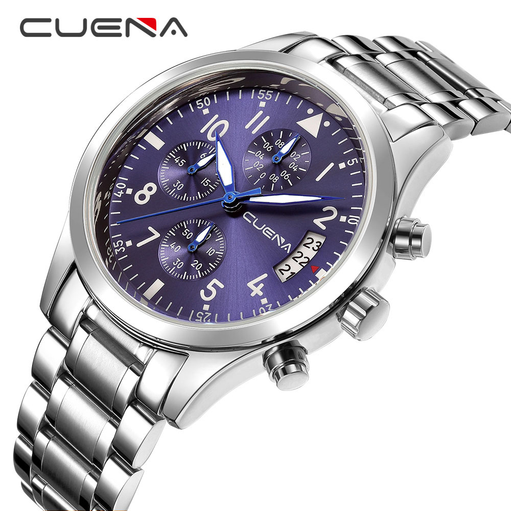 CUENA Watch Men Fashion Sport Quartz Clock Mens Watches Top Brand Luxury Full Steel Business Waterproof Watch Relogio Masculino men fashion quartz watch mans full steel sports watches top brand luxury cuena relogio masculino wristwatches 6801g clock