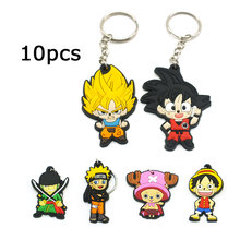 ZOEBER 10 PCS Anime Dragon Ball key chain Luffy naruto CARTOON KeyChain Animal Tokyo Ghoul Wukong chains captain Joba Key Ring