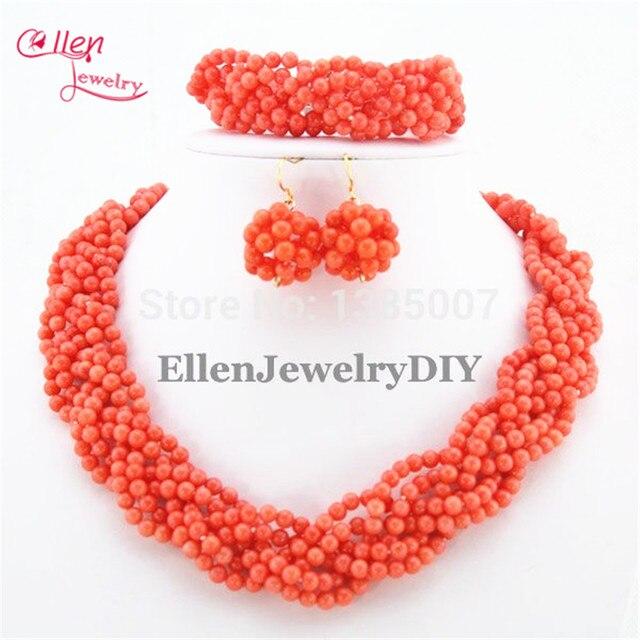 Charming Handmade Plait Orange Coral Jewelry Set Nigerian Wedding african beads Jewelry Sets TL1056