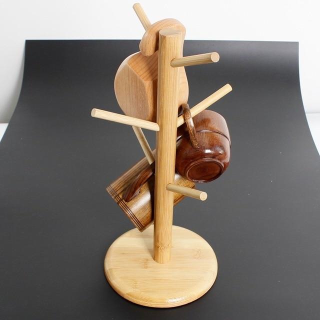 Eco Friendly Wooden Coffee Mug Tree Tea Cup Holder Stand Mug Storage Rack  With 6