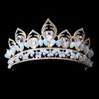 Cổ điển Baroque Vương Miện Prom Công Chúa Crowns Màu Xanh Pha Lê Bridal Tiara Bridal Mũ Sắt Prom Headbands Wedding Phụ Kiện Tóc