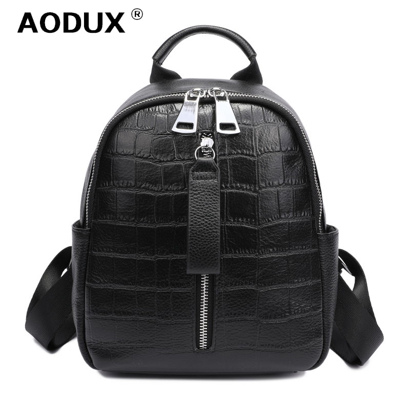 Aodux 2019 Small Summer Soft Natural Genuine Leather First Layer Cow Leather Women Backpack Ladies Cowhide