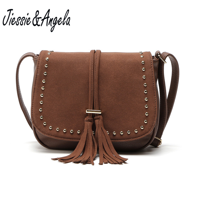 купить Jiessie&Angela New Women Tassel Messenger Bags Vintage Leather Top-Handbag Famous Brand Women's Bag Crossbody Shoulder Purse