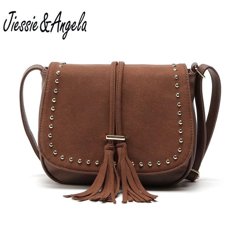 Jiessie&Angela New Women Tassel Messenger Bags Vintage Leath