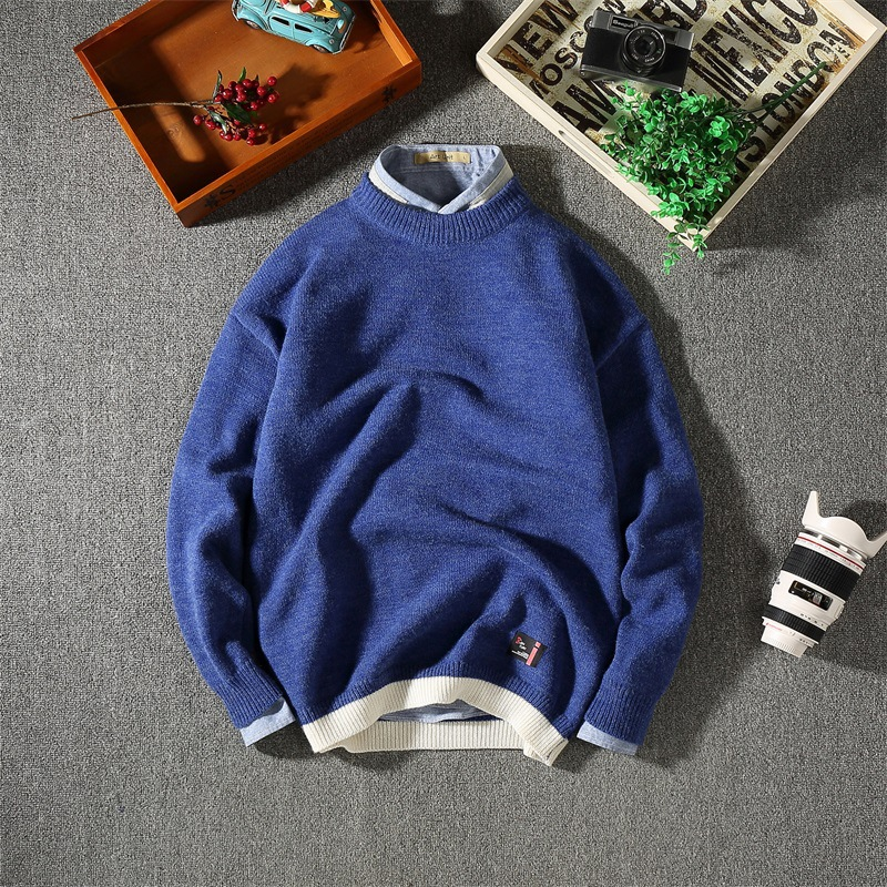 Winter mens solid color sweater Japanese Small fresh loose hem hit color sweater man casual pullover
