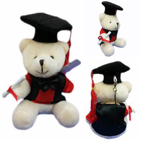 10cm Graduation Teddy Bear With Cap and Gown Plush Doll Cartoon Stuffed Toy For Doctor/Students Gifts #Beige