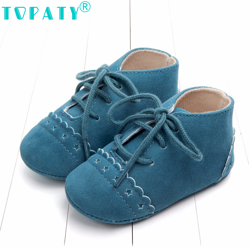 TOPATY Baby Moccasins Solid British Style Lace-Up Flock Newborn Bebe Shoes chaussures bebe filles premiers pas babyschuhe