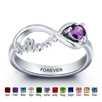 Best Gift Personalized Birthstone Promise Couple Ring Sterling Silver Engraved with Name Infinity Rings For Women