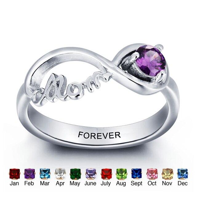 Melhor Presente Personalizado Birthstone Promise Casal Anel de Prata Gravado  com o Nome Anéis Infinito Para ca69d9d336