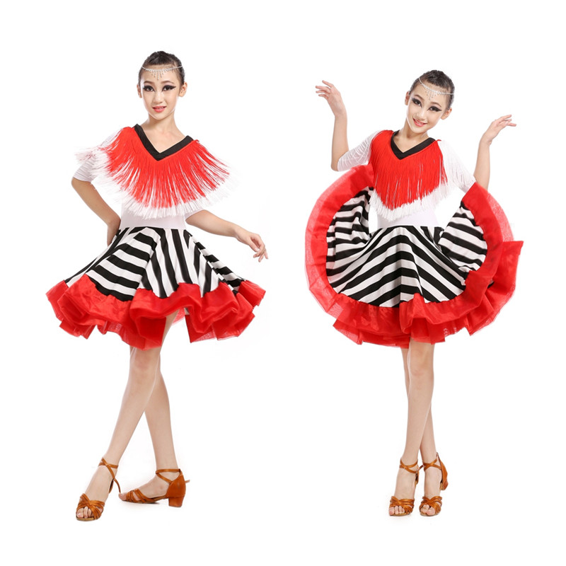 ca0b565d51c Nouveau Adulte Enfant Latine danse costume principal spandex manches  longues robe de danse latine pour femmes enfant latine de danse robes S-4XL