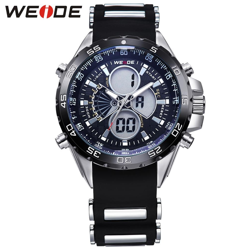 ФОТО WEIDE Brand Military Sports Watch Men Waterproof Digital LCD Quartz-Watch Silicone Strap Wristwatches Relogio Masculino / WH1103