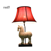 chinese style retro resin Strong horse table lamp home deco study desk lamp vintage living room decoration fabric table light