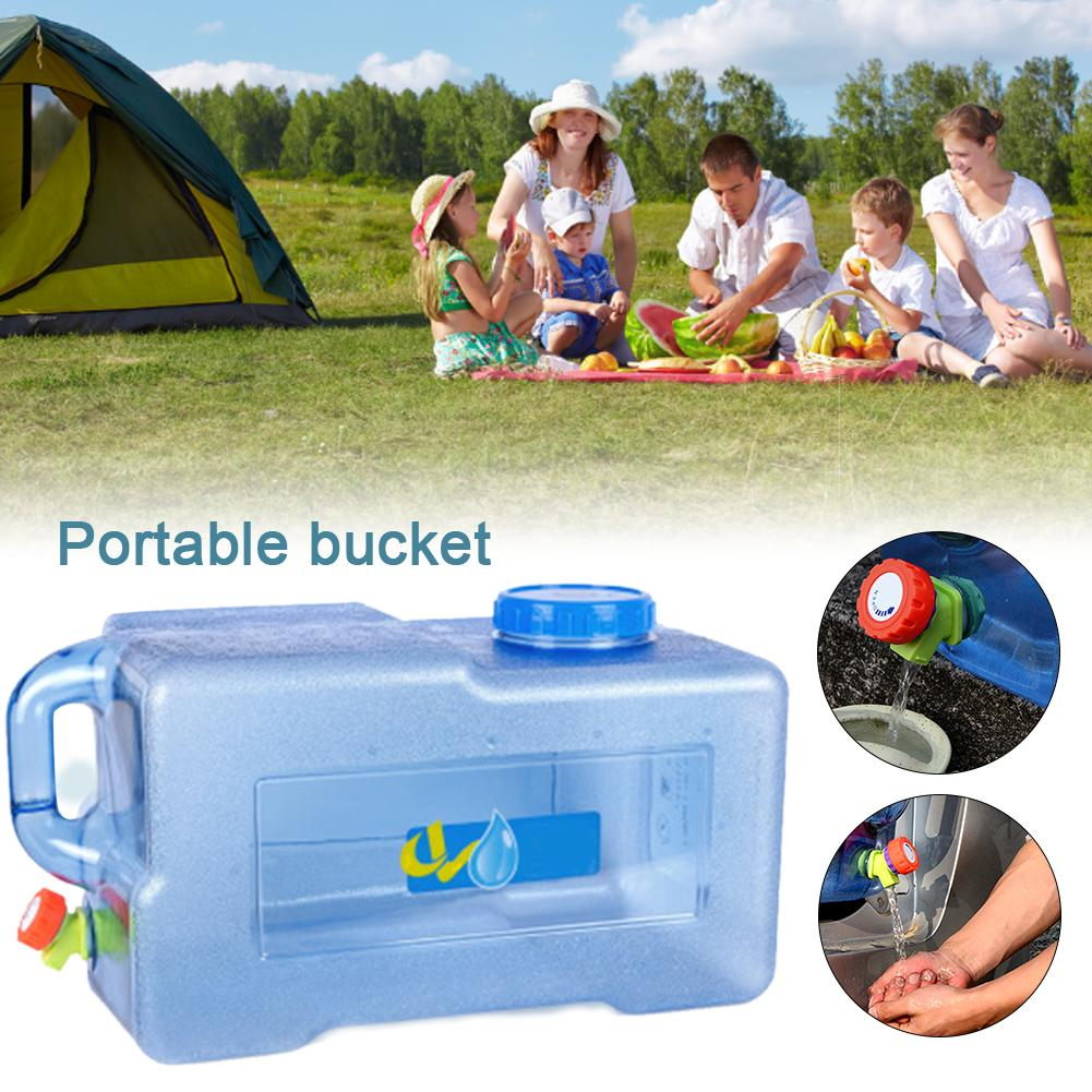 25L Car Bucket Thickened With Faucet Self Driving Auto Portable Square PC Bucket Outdoor Camping Water Carrier Storage Container