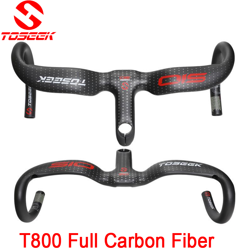 TOSEEK  full carbon fiber road bike integrated handlebar bent handlebar UD matte31.8* 400/420440*90/100/110/120mm bike parts 2016 new toseek ud matte full carbon fiber integrated road bicycle handlebar bike handlebar 400 420 440mm
