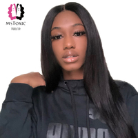 Mstoxic Lace Front Human Hair Wigs Brazilian Straight Lace Front Wig With Baby Hair Pre Plucked Deep Part Remy Hair Wig Full End