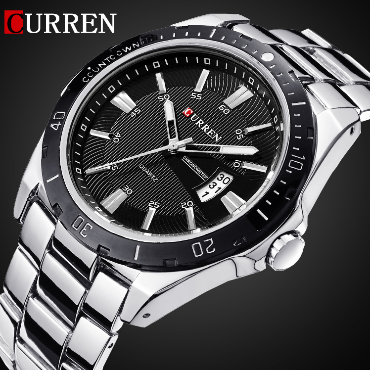 2016 CURREN NEW Fashion Men Sports Watches Quartz Date Clock Man Watch Men's Casual Full Stainless Steel Casual Wrist Watch