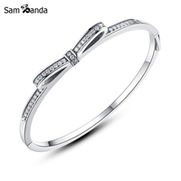 Authentic 925 Sterling Silver Bracelet Bangle Sparkling Bow Clear Crystal Moments Bangles Fit Pan Charm Bead