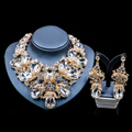 Lan palace turkish jewelry gold plated Austrian crystal necklace and earrings for wedding women jewelry set free shipping