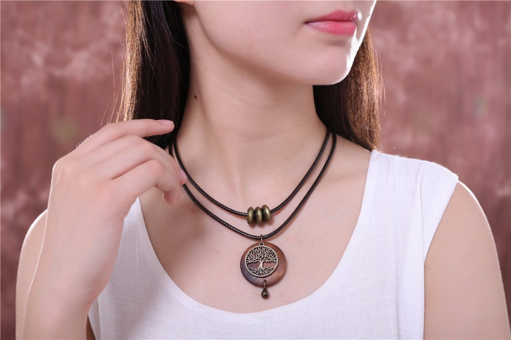 HTB1XW3SSpXXXXbTXpXXq6xXFXXXy - Woman chokers Necklaces vintage Jewelry Tree Design Wooden pendant Wholesale Long necklace for women collares mujer kolye
