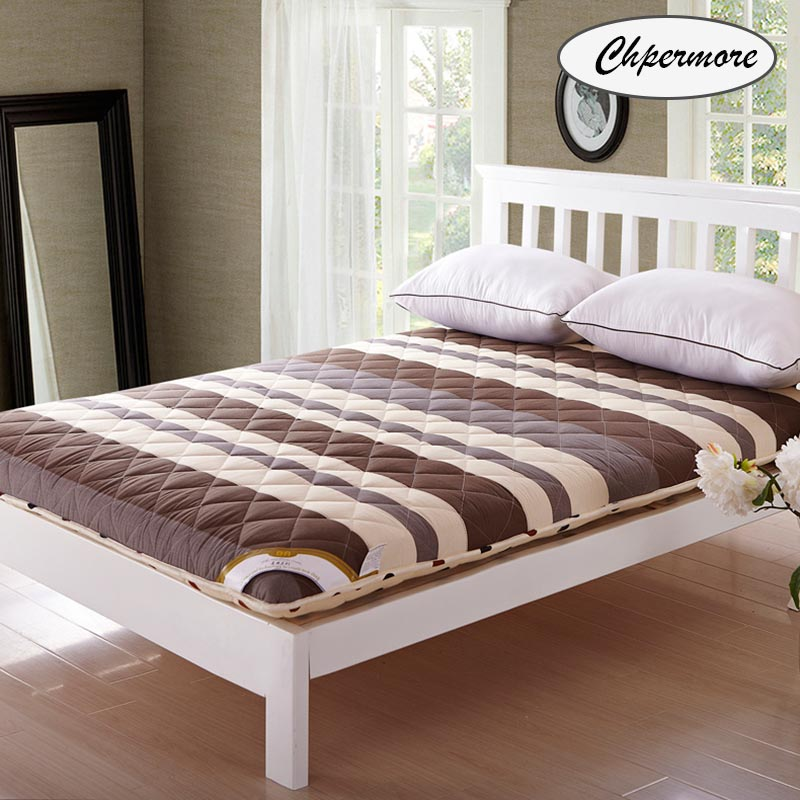 Chpermore Thicken Brown stripe Mattresses Keep warm Foldable Tatami 100% cotton Mattress Cover For Family Bedspreads King Size-in Mattresses from Furniture