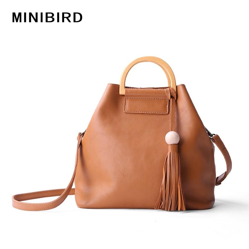 ФОТО Tassel Vintage Bucket Lady Wooden Handle Handbag Women Deformation Genuine Leather Cowskin Casual Totes Crossbody Shoulder Bag