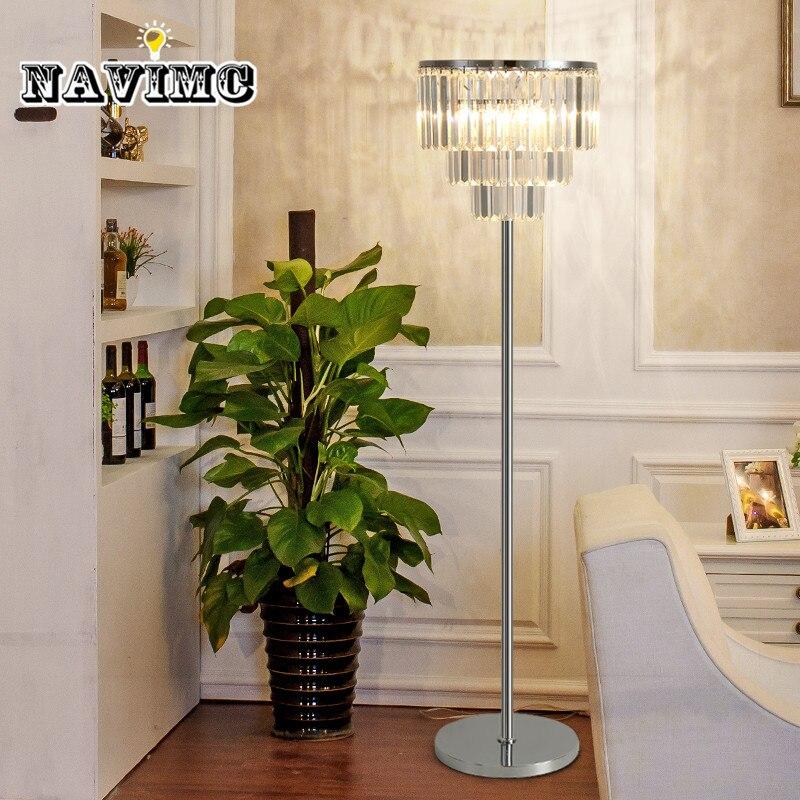 Lâmpada de Assoalho de Cristal de luxo Quarto Simples e Moderno Candeeiro de Mesa sala de estudo Luz chão led criativo Smoky Cinza/Transparente