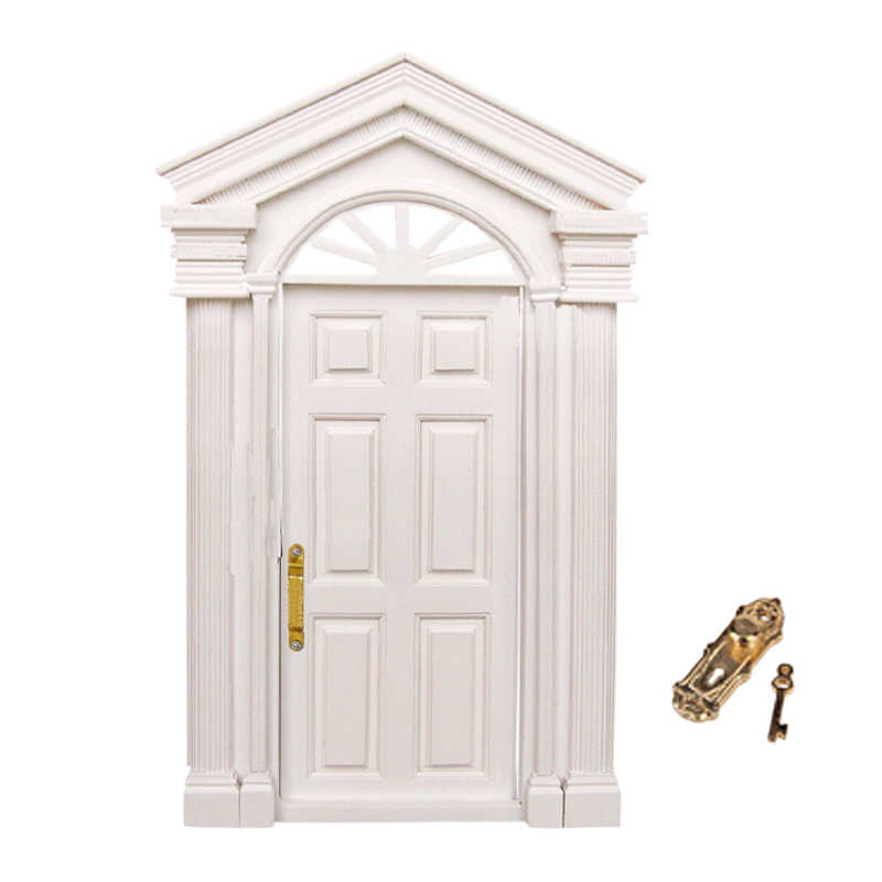New 1 12 Dollhouse Miniature Classic Toys Diy Luxury Wooden White Exterior Door 6 Panel Role Playing Furniture Toys For Child