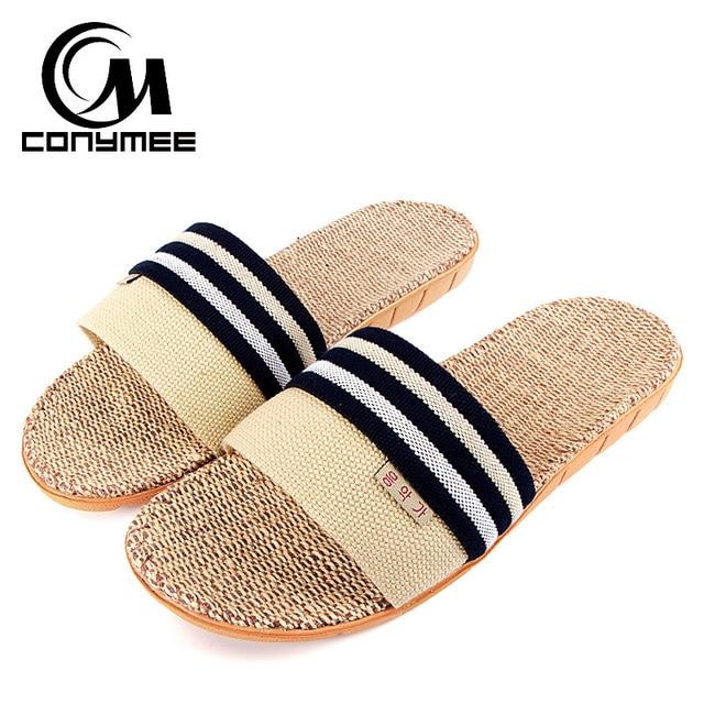 bc41b7b95708 CONYMEE New 2018 Beach Sandals Men Shoes Summer Flax Sandalias Flip Flops  Indoor Home Winter Slippers Zapatos Hombre Pantuflas