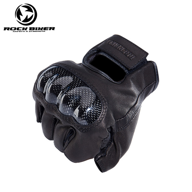 ROCK Motorcycle Gloves Leather for Harley Carbon Retro Summer Short Men Racing Riding Glove Guantes Moto luvas da motocicleta