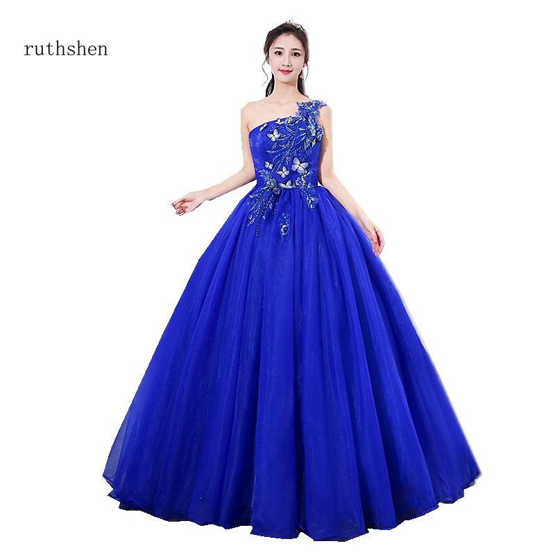 Us 6112 28 Offruthshen Elegant Vestidos De 15 Anos 2018 New Arrival One Shoulder Royal Blue Orange Quinceanera Dresses Party Prom Gowns In