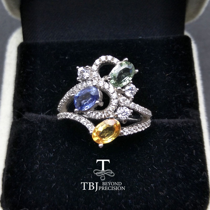 TBJ, Natural heated fancy color sapphire 3 pieces of oval 4*6mm 1.5 gemstone Ring in 925 sterling silver for women with gift boxTBJ, Natural heated fancy color sapphire 3 pieces of oval 4*6mm 1.5 gemstone Ring in 925 sterling silver for women with gift box
