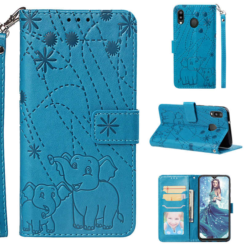 1pcs For Samsung Galaxy M10 M20 Stand Fireworks Elephant Strap Book Style Leather Case For Samsung Galaxy J6 Plus J4 Plus