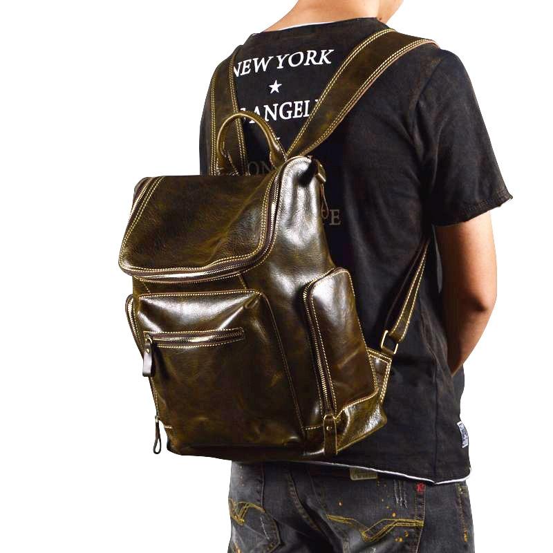 New Retro  Men &women Bag Cow Leather Genuine Leather Shoulder Bag Laptop Bags High Capacity School Style Shoulder Bag Green