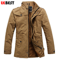 LKBEST 2017 New trench coat men thick warm single Breasted wimter men's coat Casual slim fit mens overcoat brand clothing (FY09)