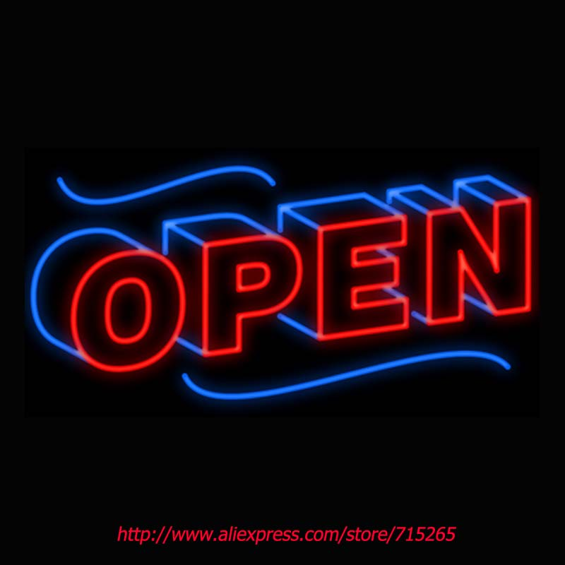 Open Block Neon Sign Board Neon Bulbs Light Guarage Display Real GlassTube Custom Handcrafted Business Light Decorate 19x12 VD