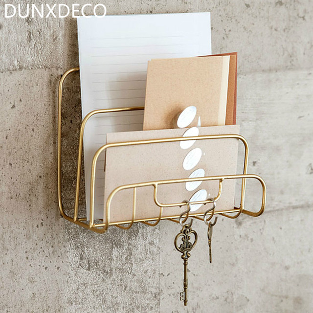 DUNXDECO Home Office Storage Letter Holder Book Organiser Iron Rack Simple  Gold Color Desk Accessories Gift Simple French Style